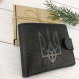 Кожаное мужское портмоне с гербом