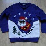 Новогодний свитер с Сантой Matalan на 8-10 лет