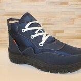 Зимние женские синие кроссовки ботинки на шнурках