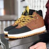 Nike Lunar Force 1 Duckboot кроссовки мужские демисезонные черные с коричневым 8770