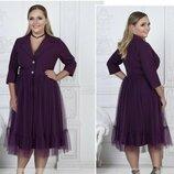 Изумительное платье с вышивкой гладью ткань Креп-Дайвинг