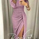 Вечернее платье с разрезом Medea - люрекс