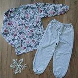 Пижама теплая на баечке с начесом Олени на пуговках с манжетами начес 86-92-98-104-110-116-122