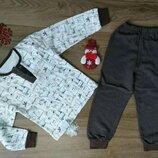 Пижама теплая с начесом на баечке с манжетами Котики начес Хлопок 86-92-98-104-110-116-122-128
