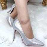 Женские туфли лодочки стразы серебро