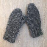 Велюровые варежки рукавицы ручной работы темно-серого цвета