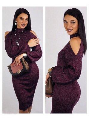 Теплое ангоровое платье с открытыми плечами Tess арт. 821 скл.10