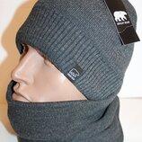 Теплый комплект шапка и баф на флисе 56-60 размер