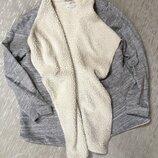 Теплая кофта шакет пиджак утепленная меланж саободного стиля H&M