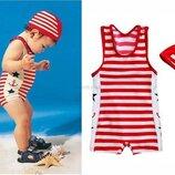 Детский купальник с шапочкой полосатый на мальчика в наличии