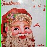 Интерьерная Виниловая Наклейка Дед Мороз Стену Новогодняя Елка Новый год Рождество Рождественские