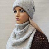 Комплект шапка с косынкой , 3 цвета 1013