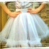 Пышная фатиновая юбка на девочку нарядная праздничная юбка из фатина новогодняя