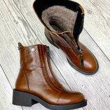 Женские Зимние кожаные коричневые ботинки в стиле Diesel дизель