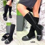 Высокие женские сапоги NICE материал натуральная замша,носок нат.кожа