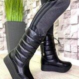 женские кожаные черные дутики