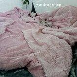 Плед овчина косичка, плед с овчиной розового цвета