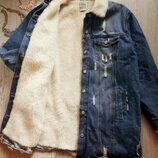 Синяя голубая длинная джинсовая куртка на меху меховым воротником шерпа батал большой размер
