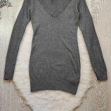Серый длинный свитер с вырезом декольте туника кофта с шерстью вискозой вязаный секси