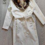 белое натуральное теплое шерсть длинное пальто оверсайз на запах с поясом халат с воротником Италия