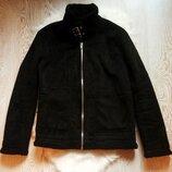 Черная зимняя теплая мужская дубленка короткая куртка на меху овчине шерпа замшевая с ремешками