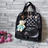 Женский рюкзак сумка из плотной экокожи черный