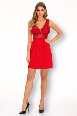 Imchaella красная сорочка ночнушка широкие бретели материал вискоза