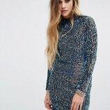 платье паетки хамелеон, яркое, крутое платье, голая спинка, ASOS