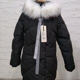 р.110-158 Шикарная зимняя куртка пуховик детский с белым мехом, к.V