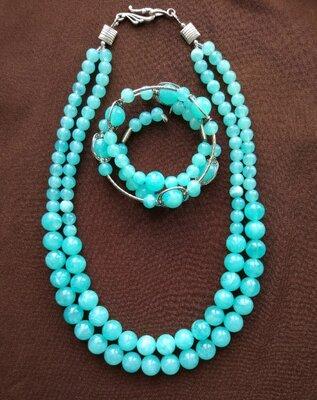Комплект Мятний намисто, браслет, сережки