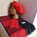 Комплект чешский фетровый берет tonak, шарф палантин в клетку и шерстяные перчатки