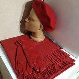 Комплект чешский фетровый берет tonak, зимний шарф палантин и кожаные перчатки