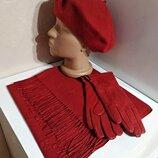 Комплект чешский фетровый берет tonak и шарф палантин и кожаные перчатки