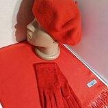 Комплект женский чешский фетровый берет tonak, шарф палантин и перчатки красный