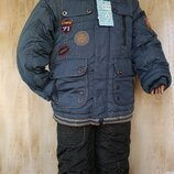 Супер теплый комбинезон тройка на мальчика аналог Кико 6,7,8 лет Зима