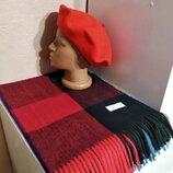 Комплект чешский фетровый берет tonak и шарф палантин в клетку из пашмины