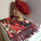 Комплект чешский фетровый берет tonak и разноцветный шарф палантин