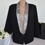 Брендовый черный пиджак жакет накидка с карманами a.n.a паетки