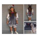 Новогодний костюм Мышка Мыша Мышонок 2 размера на 3-7 лет для девочки.