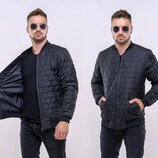 Тёплая мужская куртка-бомбер синтепон 1226 Соты Шеврон