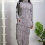 Вязаное платье 48 - 54 три расцветки