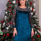 Платье Ткань бархат муар набивной гипюр Размеры 48-50, 52-54, 56-58, 60-62