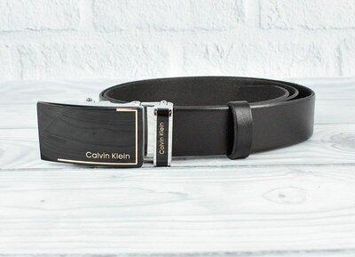 Ремень кожаный мужской автомат черный Calvin Klein 8006-324 gold