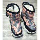 Зимние детские розовые сапожки для девочки р.26-37