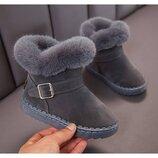 Зимние серые ботинки, полусапожки для девочки р.25-36