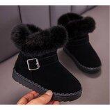 Черные зимние ботинки, полусапожки для девочки р.25-36
