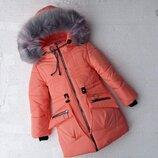 Зимняя куртка для девочек, бабочка персик, 5-8 лет