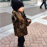 меховая курточка леопард 5-6 лет