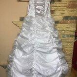 Новогоднее белое платье р.104 Зима, снежинка