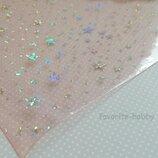 Эко-Кожа силикон Звезды 20 30 см,цвет светло-розовый,1 лист